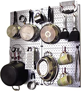 product image for Wall Control Kitchen Pegboard Organizer Pots and Pans Pegboard Pack Storage and Organization Kit with Metallic Silver Pegboard and Red Accessories