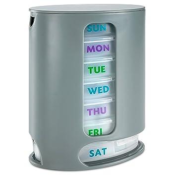 Organizador semanal de pastillas MEDca: 1 dispensador, siete contenedores apilables para cuatro veces al día: mañana, mediodía, tarde, noche.