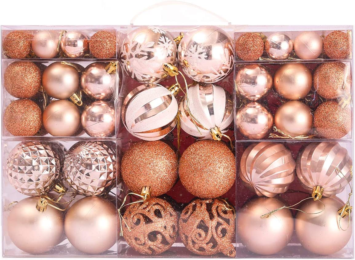 PARTY JOY 100 Pack Christmas Tree Ornaments Set Christmas Ball Ornaments Shatterproof Seasonal Decorative Hanging Baubles Set for Holiday Xmas Tree Decorations (Champagne Pink, 100)