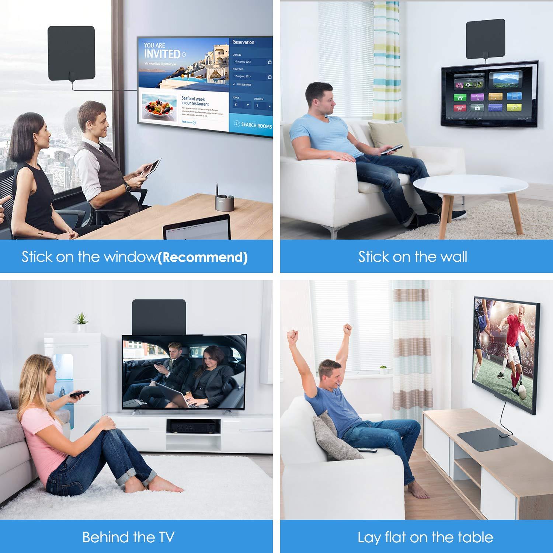 f/ür Alle TV-Typen Geeignet TICTID. DVB-T2 Receiver mit Antenne Unterst/ützt 4K 1080 HD//VHF//UHF Tragbare Digitale TV Antenne mit Intelligentem Signalverst/ärker DVB-T2 Antenne Innen