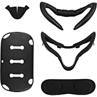 [Newer Version] Esimen VR Facial Interface Bracket & PU Leather Foam Face Cover Pad Replacement & Protective Lens Cover & Skins &Anti-Leakage Nose Pad Custom Set for Oculus Quest Accessories, 5-Piece
