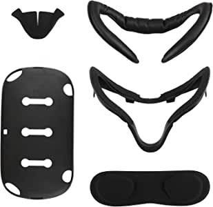 [Newer Version] Esimen VR Facial Interface Bracket & PU Leather Foam Face Cover Pad Replacement Custom Set for Oculus Quest, VR Accessories (5-Piece)