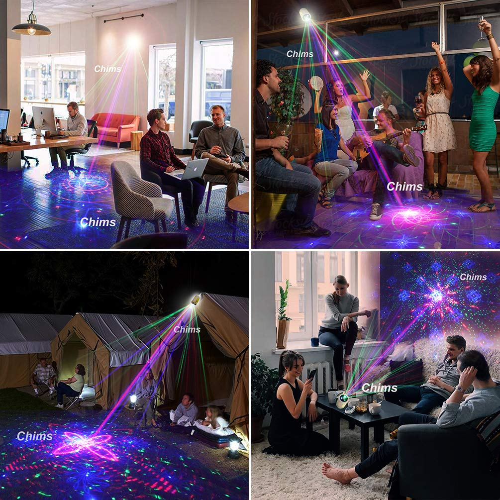 Chims Laser Light Rechargeable Cordless RGB 30 Patterns Effect Gobo Projector Sound Activated Stage Lights for Summer Holiday Disco Party Event Birthday Gift Outdoor Camping Mini DJ Party Light