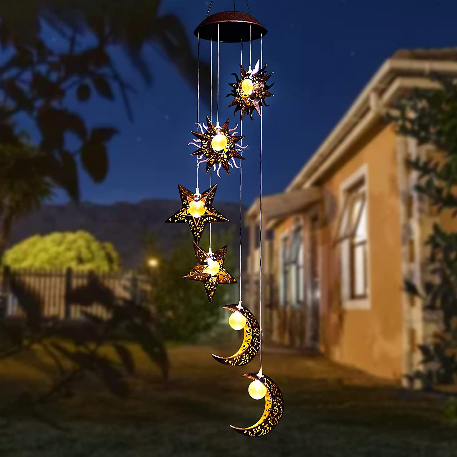 Tryme Solar Wind Chimes with Sun Moon Star Solar Powered Wind Chimes Warm LED Windchimes Hanging Outdoor Lights Unique Decor Gifts for Wife Mom Grandma Neighbors