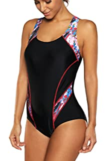 bec14f3bb3 beautyin Women's Pro One Piece Athletic Bathing Suit Color Block Swimsuit