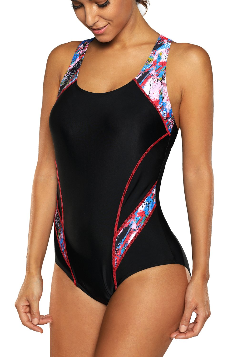 beautyin Womens One Piece Athletic Racerback Swimsuit Slimming Bathing Suit