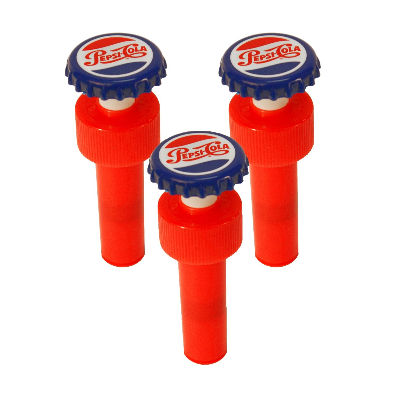 Jokari 18010P3 3 Count Pepsi Heritage Logo Fizz Keeper Soda Bottle Pump Cap, Red/White/Blue