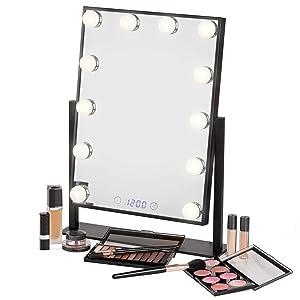 Estala Hollywood Vanity Mirror with Lights – Professional Makeup Mirror & Lighted Vanity Makeup Table Set with Smart Touch Adjustable LED Lights, Black Vanity Mirror, Digital Clock & Steel Frame