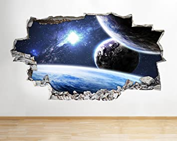 Wall Poster Nebula Star Gazing Space Planets Moon Earth Decal 3D Art Sticke B010