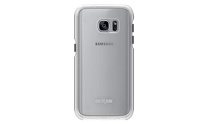 Dog & Bone Splash - Drop Proof, Splash Proof Galaxy S7 Case - Clear & Black