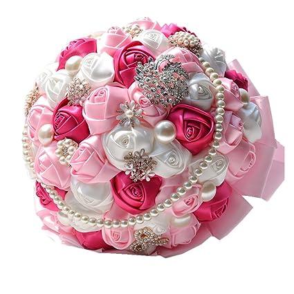 Amazon rose flower wedding bouquet brooch crystal pearls silk rose flower wedding bouquet brooch crystal pearls silk bridal flowers dark pink mightylinksfo