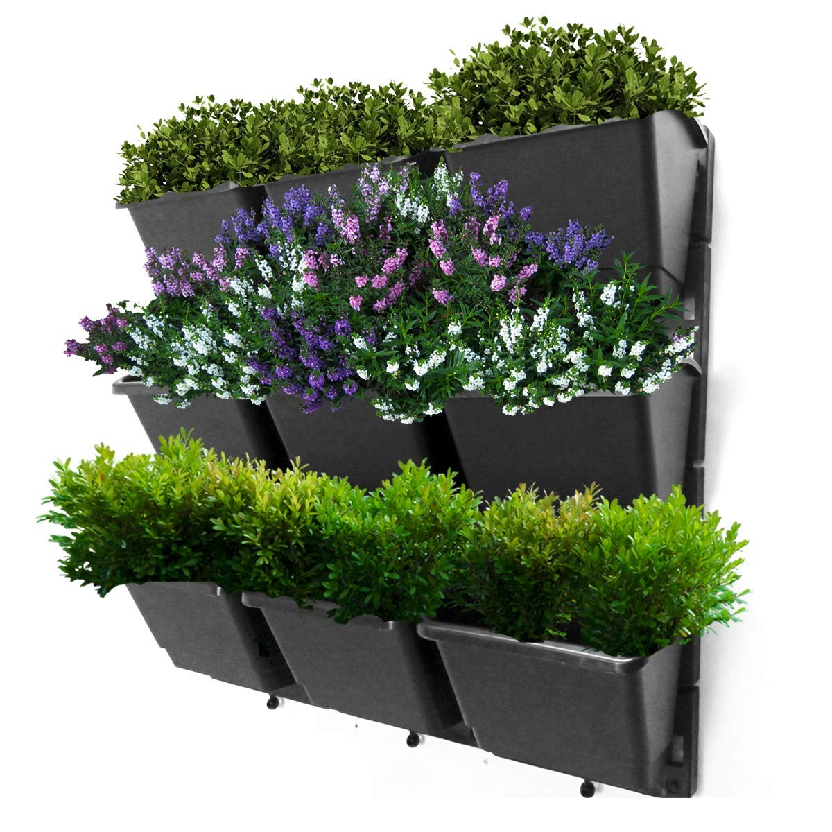 Vertical Garden Wall Planter Kit- 19''x19''- 3 Clip & Create Modules-11 Unique Design Layouts-Vertical Gardening Kit Wall Mount Fits Any Space- Grow Flowers,Succulents,Vegetables, Herbs - Easy DIY
