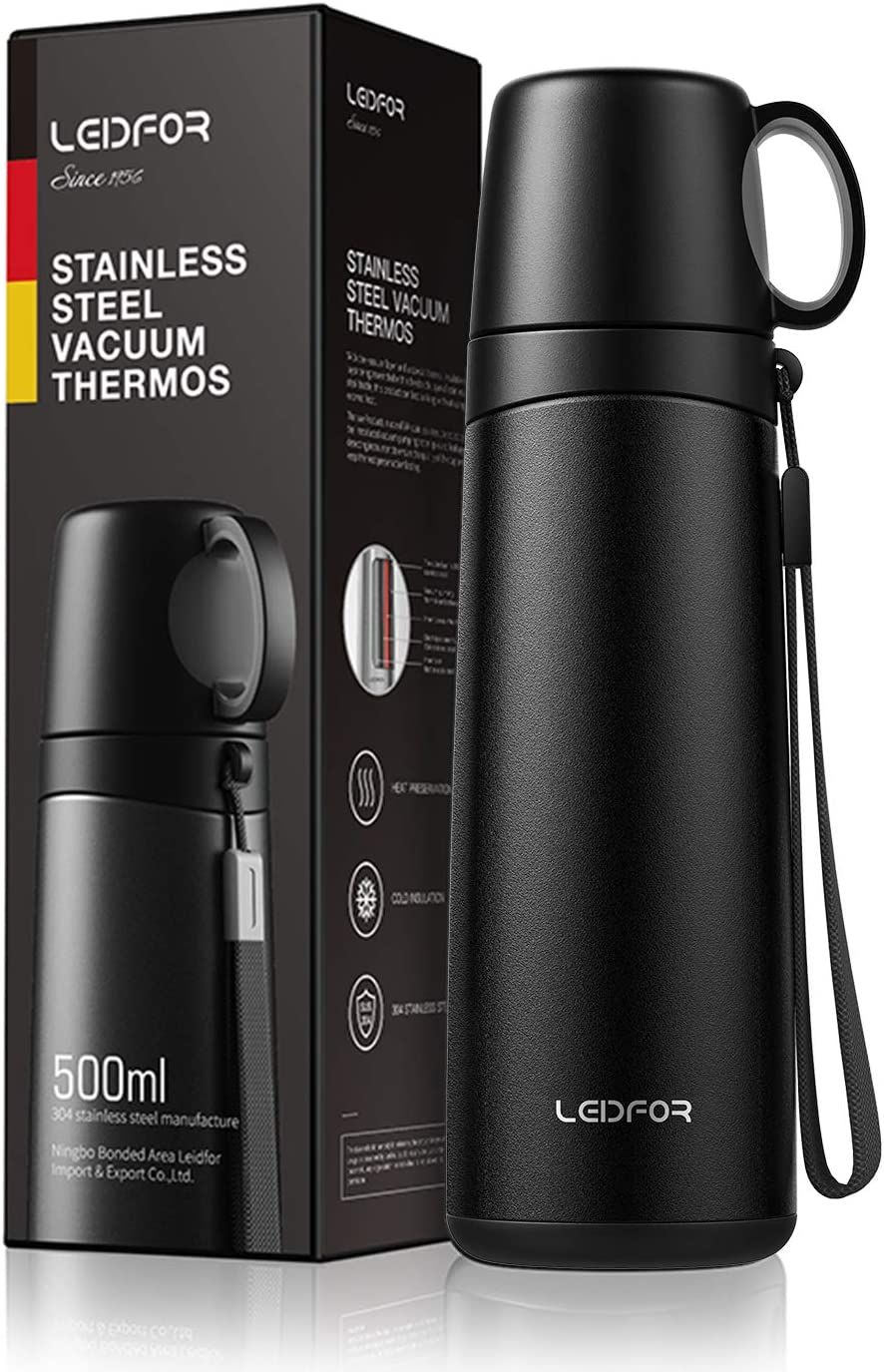 Leidfor Coffee Thermos Travel Mug Vacuum Insulated Thermal Water Bottle Build-in Drinking Cup Stainless Steel Leakproof 17Ounce Black Matte Finish