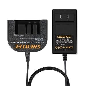 Shentec 1.2V-18V Battery Charger Compatible with Black & Decker 7.2V 9.6V 12V 14.4V 18V Ni-MH/Ni-Cd Slide Style Batteries(Not for Li-ion Batteries)