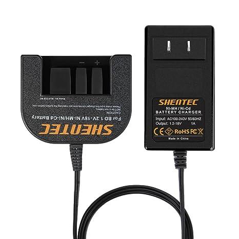 Shentec 1.2V-18V Battery Charger Compatible with Black and Decker 7.2V 9.6V 12V 14.4V 18V Ni-MH/Ni-Cd Slide Style Batteries