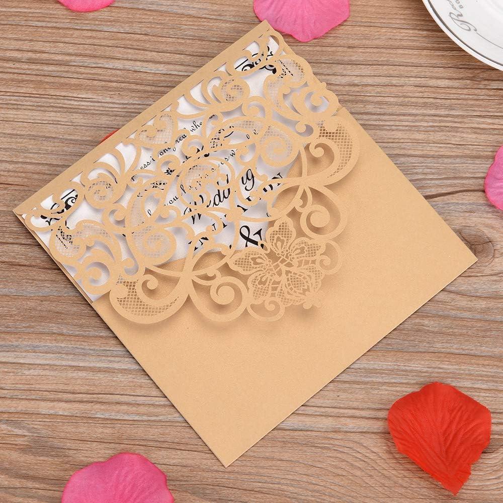 Weehey 10pcs Papier dinvitation Cartes Florales titulaires dinvitation pour Mariage Anniversaire de f/ête danniversaire
