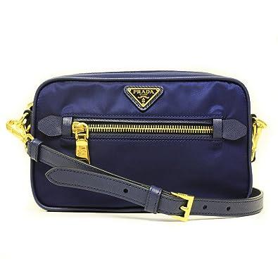 d9f069da125f Amazon.com  Prada BT0773 Tessuto Saffian Royal Blue Nylon and Leather Small Crossbody  Messenger Bag  Shoes