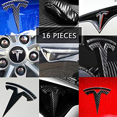 CoolKo Car Special Modification Parts Carbon Fiber Stickers Protection Compatible with Model X [16 Pieces Stickers - Black Stickers]: Automotive