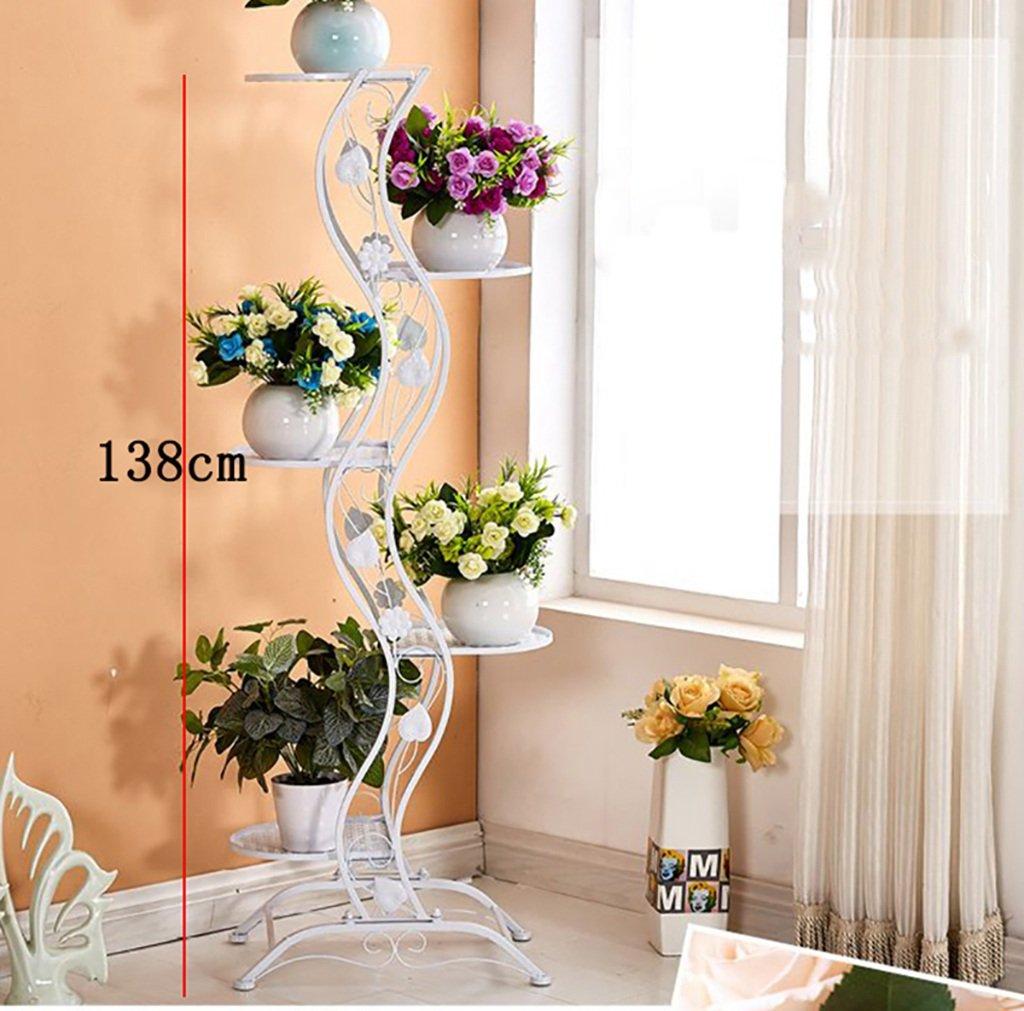 Einfacher Balkon Aus Schmiedeeisen Im Europäischen Stil - Stehständer Aus Metall - Mehrschichtiger Metallständer Für Innen- Und Außenanlagen - Vertikaler Blumenständer (Farbe : Weiß)