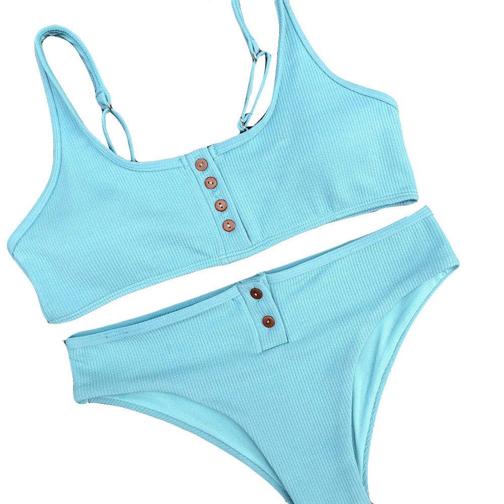 WYTong Womens Solid 2PCS Swimsuit Button Crop Top Low Waist Knit Bottom Sporty Bikini Sets Bathing Suit