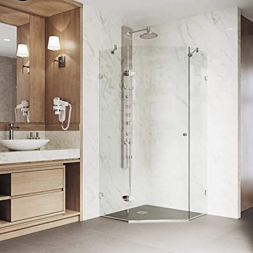 VIGO VG6061BNCL38 Verona 38 x 38 inch Clear Glass Corner Frameless Neo-Angle Shower Enclosure, Hinged Shower Door with Magnalock Technology, 304 Stainless-Steel Shower Hardware in Brushed Nickel Finish