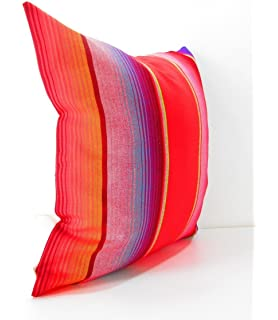 mexican pillows serape pillow covers red blue green yellow striped - Red Decorative Pillows