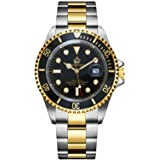 Mens Luxury Watches Rotatable Bezel Sapphire Glass Luminous Hand Quartz Silver Tone Stainless Steel Watch