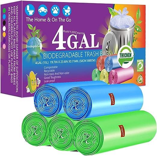 XUXRUS Bolsas de basura biodegradables de 4 galones, 150 unidades ...
