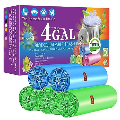 XUXRUS Bolsas de basura biodegradables de 4 galones, 150 ...
