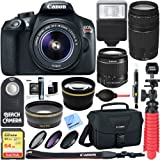 Canon T6 EOS Rebel DSLR Camera w/ EF-S 18-55mm IS II & 75-300mm III Lens Kit + Accessory Bundle 64GB SDXC Memory + SLR Photo Bag + Wide Angle Lens + 2x Telephoto Lens + Flash + Remote + Tripod & More