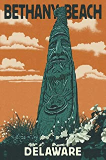 product image for Bethany Beach, Delaware - Totem Pole - Letterpress (24x36 Giclee Gallery Print, Wall Decor Travel Poster)
