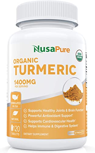 USDA Organic Turmeric Curcumin with Black Pepper Extract Vegan 1400mg per Serving – Joint Pain Relief Anti-Inflammatory Powder – Organic Black Pepper Instead of BioPerine – 120 Tablets No Pills