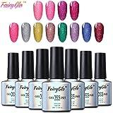 Esmalte Semipermanente de Uñas Gel UV LED Kit de Uñas de gel 3pcs 10ml con Brillo Color Soak-off Manicura y Pedicura de FairyGlo