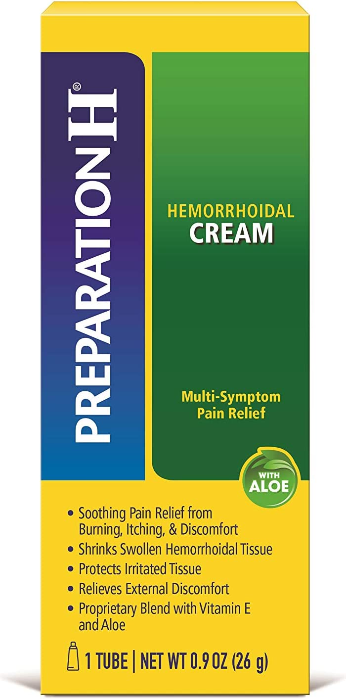 Preparation H Hemorrhoid Symptom Treatment Cream (0.9 Ounce Tube), Maximum Strength Multi-Symptom Pain Relief with Aloe: Health & Personal Care