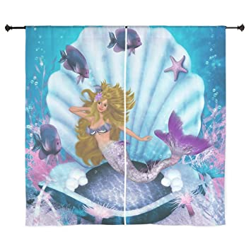 "CafePress - Best Seller Merrow Mermaid Curtains - 60"" Decorative  Window Curtains, Sheer Drapery"