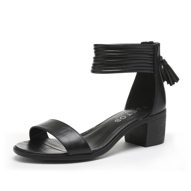 TOETOS Women's Ivy_01 Black Fashion Block Heeled Sandals Size 8 B(M) US