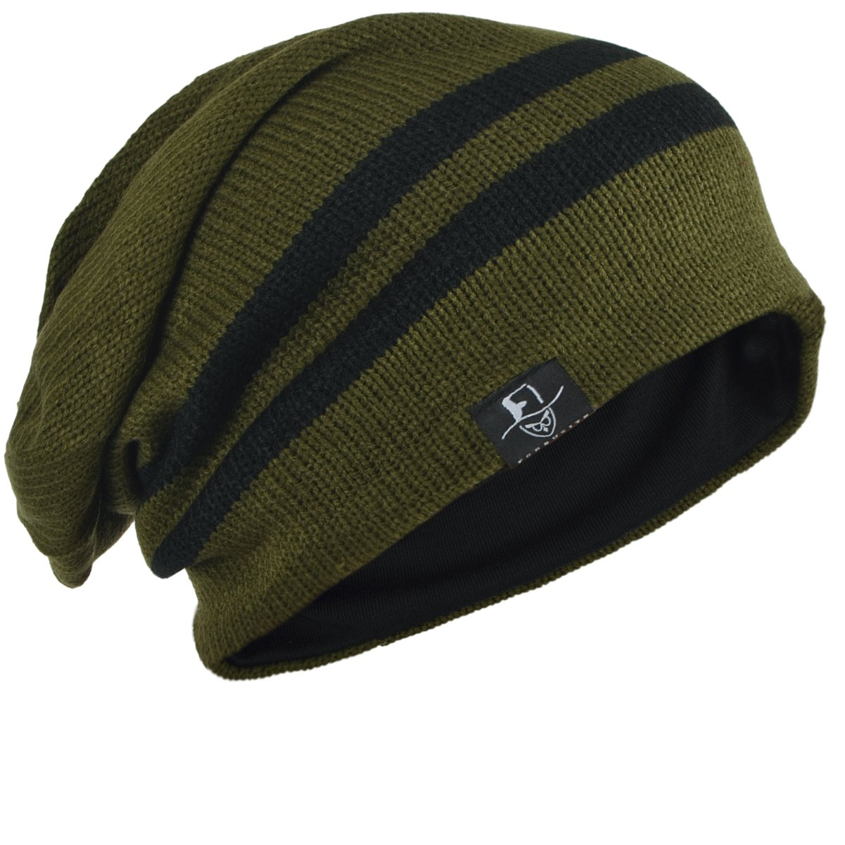 bdafef88e63a8 FORBUSITE Chic Men Baggy Beanie Slouchy Knit Skull Cap Hat (Army Green)   Amazon.co.uk  Clothing