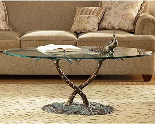 SPI Cast Aluminum Palm Tree Glass Top Coffee Table