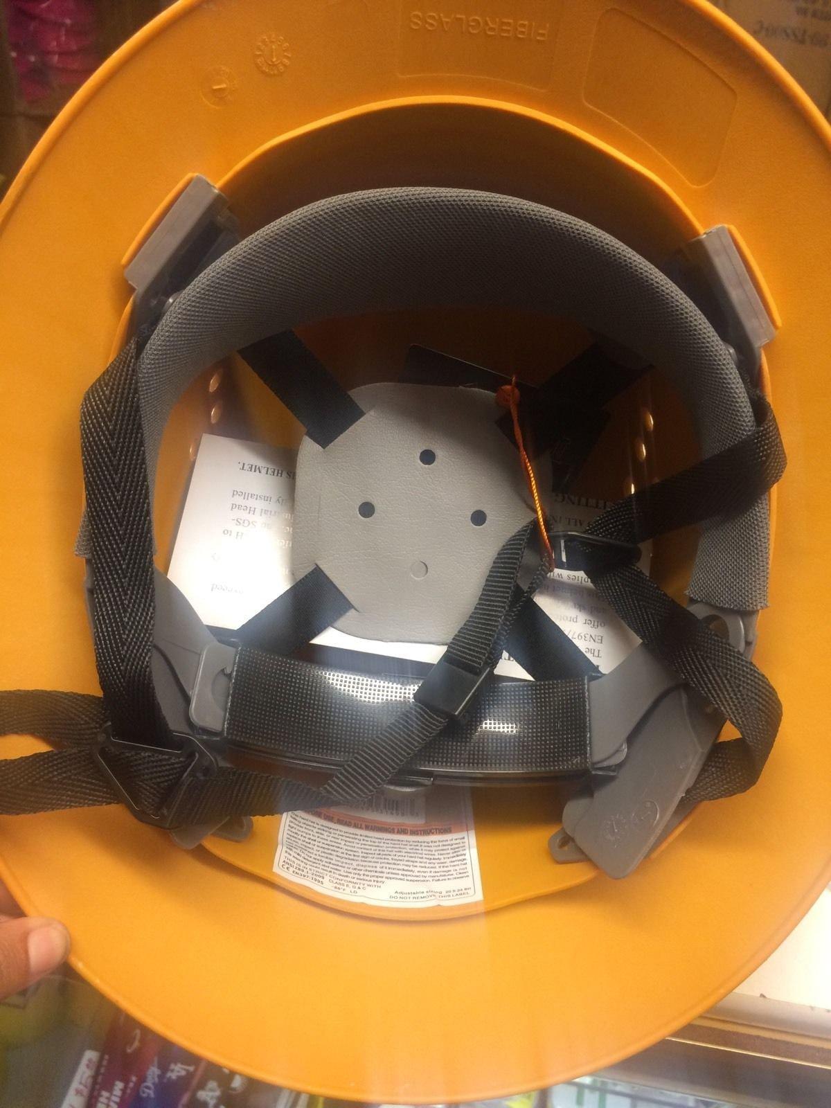 HNTE-TAN Fiberglass Hard Hat Safety Full Brim Helmet, Nylon Ratchet Suspension, 4-Point, {Top Impact} Safety Hard Hat Cool Air Flow Vent System by Truecrest Safety Helmet (Image #4)