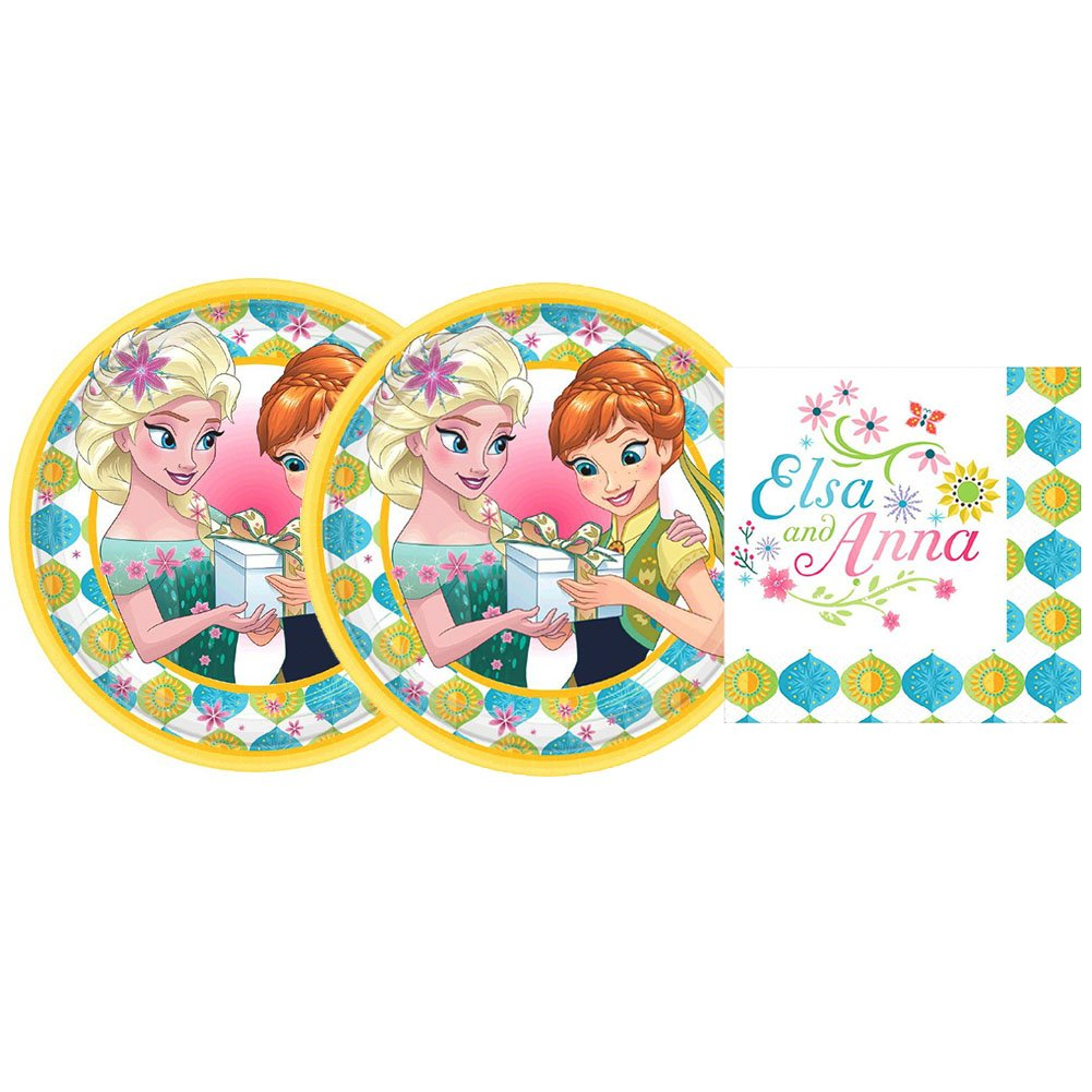 16 Dessert Plates and 16 Beverage Napkins Frozen Fever Party Pack for 16 Guests