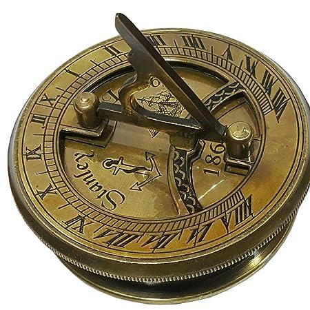 Solid Brass Hand-Made Vintage Working Nautical Sundial Compass Marine Decor