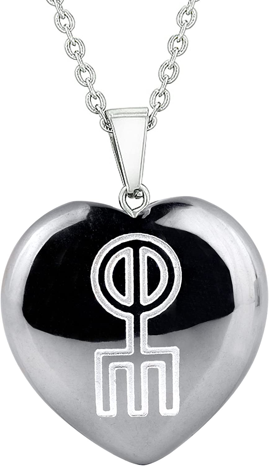 Amulet Norse Rune Love Spell Magic Powers Protect Energy Black Agate Puffy Heart Pendant 22 Inch Necklace