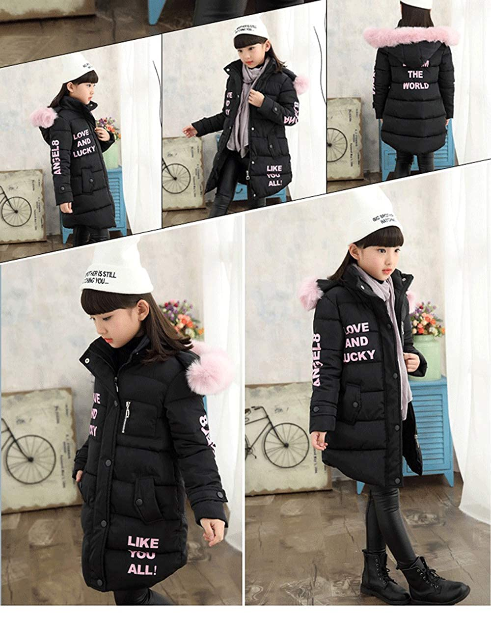 Childlike Me Girls Winter Warm Coat Thick Long Puffer Jacket with Fur Hood