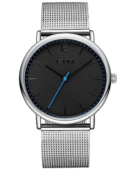 736966d3d71b Alienwork Reloj Unisex Relojes Hombre Mujer Acero Inoxidable Plata Analógicos  Cuarzo Negro Impermeable Ultra-Delgada  Amazon.es  Relojes