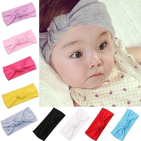 iEFiEL Lot 9 Bandeau Cheveux Bébés Filles Wrap élastique Photographie  Mariage Câdeau Naissance Enfant f8cf06749c4
