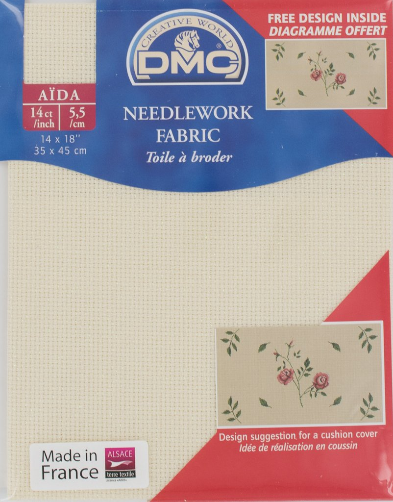 DMC 14 Count Iridescent Cream Aida Fabric 14x18 Inches (35x45cm) - DC27IRI/3823 DC27IRI 3823