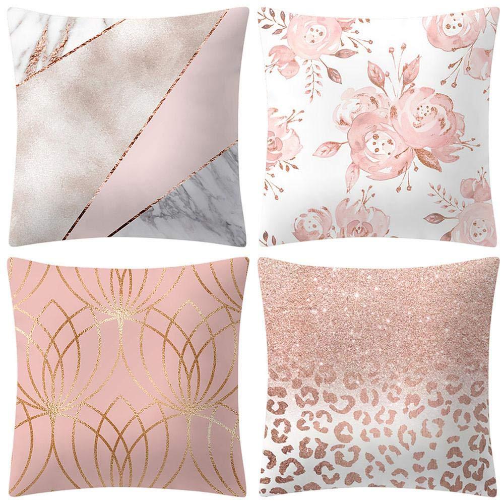 VJGOAL Moda impresión decoración del hogar Rosa Suave Funda de cojín Cuadrado cómodo Funda de Almohada 4 Piezas Conjunto(45_x_45_cm,Rosado2)