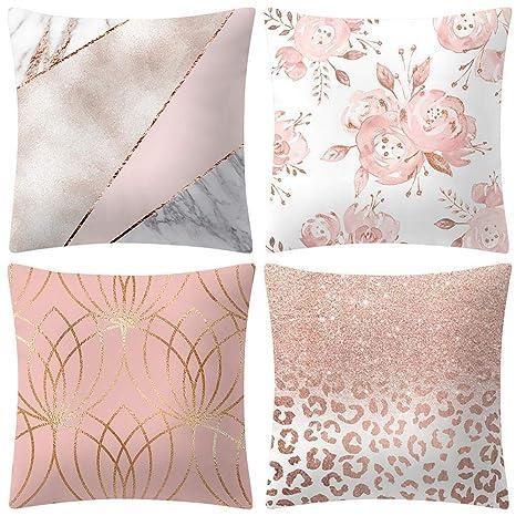 VJGOAL Moda impresión decoración del hogar Rosa Suave Funda ...
