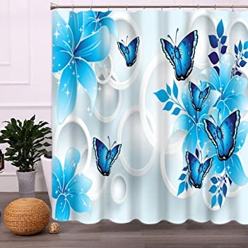 Butterfly Shower Curtain Blue Malicosmile Waterproof Non Mildew Bathroom Curtains For With Hooks