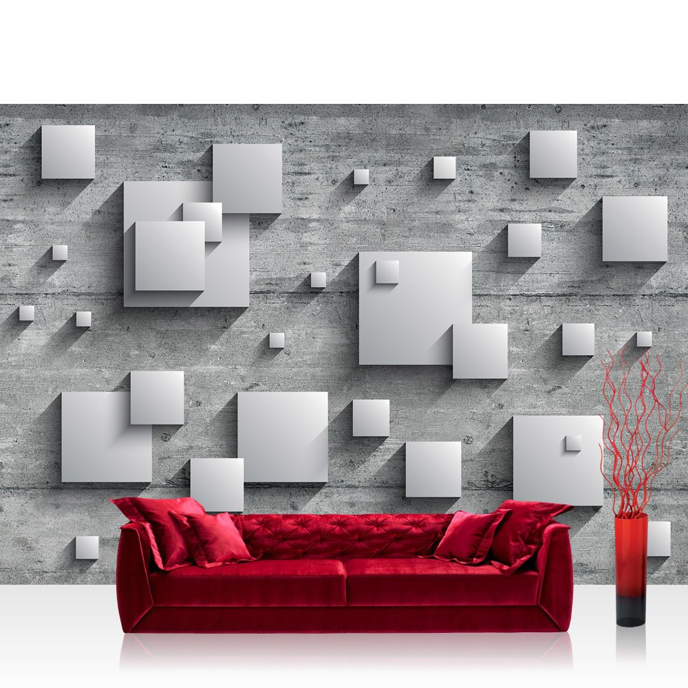 Vlies Fototapete 400x280 cm PREMIUM PLUS Wand Foto Tapete Wand Bild Vliestapete - Holz Tapete Holzwand Rechtecke Platten Kunst Design 3D Optik grau - no. 885